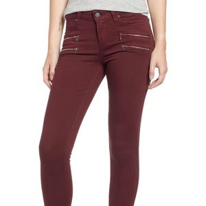 Paige Maroon Skinny Jeans Size 23